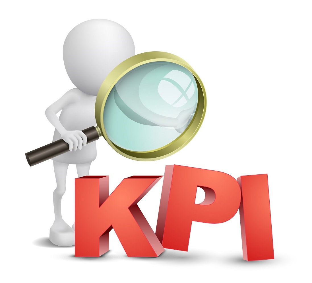 3d person with a magnifying glass and KPI